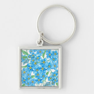 Forget me not seamless pattern Silver-Colored square keychain