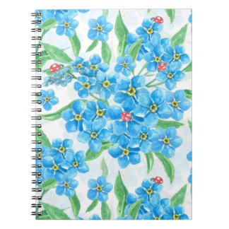 Forget me not seamless pattern spiral notebook