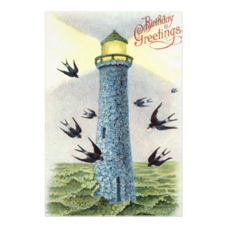 Forget Me Not Songbird Lighthouse Photographic Print