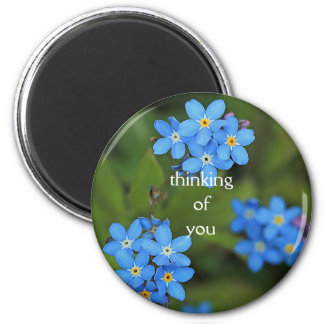 """Forget me not """"thinking of you"""" round magnet"""