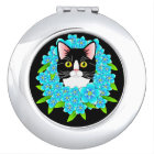 Forget Me Not Tuxedo Cat Lover's Cute Floral Mirror For Makeup