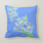 Forget me not, Watercolor Flower Garden Throw Pillow