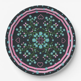 Forget-me-nots and Pink Hearts Floral Mandala Paper Plate