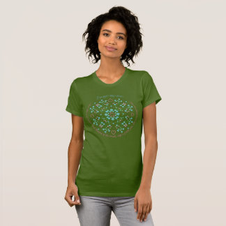 Forget-Me-Nots and Pink Hearts Mandala Garden T-Shirt