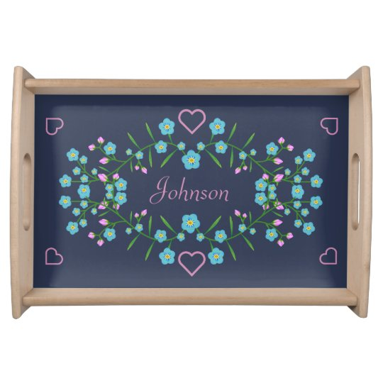 Forget Me Nots and Pink Hearts Serving Tray