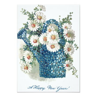 """Forget-Me-Nots Daisy Watering Can 5"""" X 7"""" Invitation Card"""