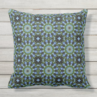 Forget Me Nots, Forgetmenot, Nature Mandala Outdoor Pillow