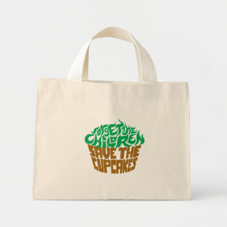 Forget the Children - Green+Chocolate Mini Tote Bag
