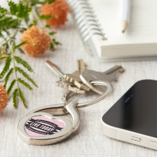 Forget yesterday,live today,dream tomorrow Silver-Colored Heart-Shaped metal keychain