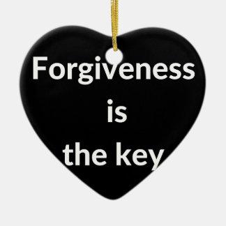 Forgiveness is the key ceramic ornament
