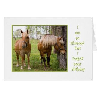 Forgot your birthday ashamed horse hangs head card