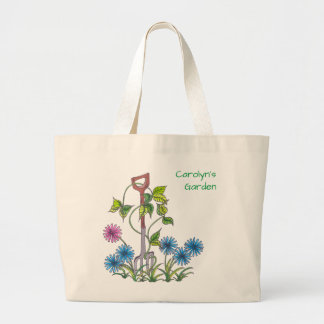 Fork and flowers, personalised your name large tote bag