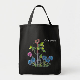 Fork and flowers, personalised your name tote bag