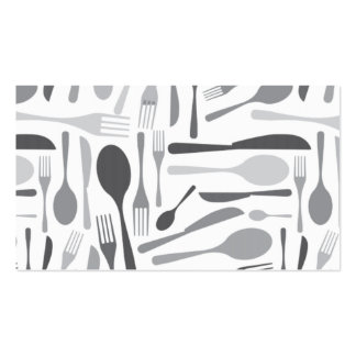 Fork and Knives Kitchen Chef Pattern Grey Business Card