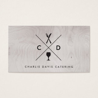 FORK & KNIFE MONOGRAM on GRAY WOOD BACKGROUND Business Card
