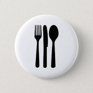 fork knife spoon icon 2 inch round button