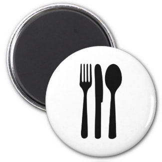 fork knife spoon icon 2 inch round magnet