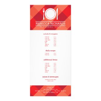 Fork, Plate, Knife Logo on Red Gingham Menu Flyer