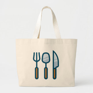 Fork Spoon and Knife Large Tote Bag
