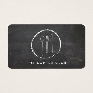 FORK SPOON KNIFE CHALKBOARD LOGO on Chalkboard Business Card