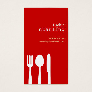 FORK SPOON KNIFE in RED Business Card