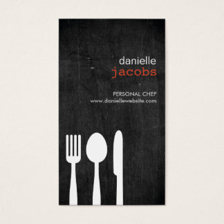 FORK SPOON KNIFE on WOODGRAIN Business Card