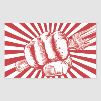 Fork Woodcut Propaganda Fist Hand