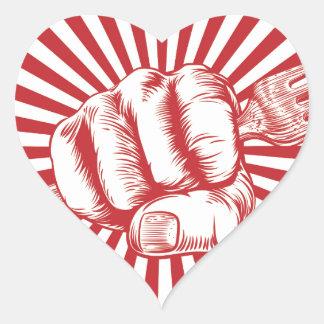 Fork Woodcut Propaganda Fist Hand Heart Sticker