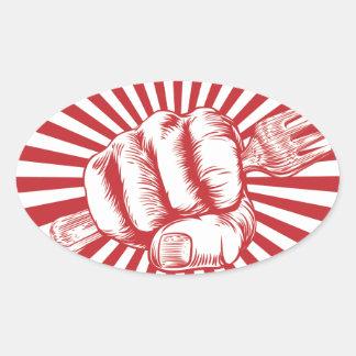 Fork Woodcut Propaganda Fist Hand Oval Sticker