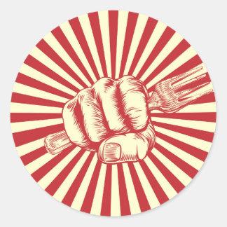 Fork Woodcut Propaganda Fist Hand Round Sticker