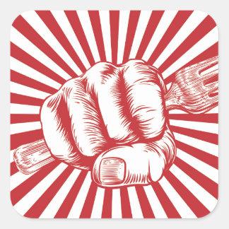 Fork Woodcut Propaganda Fist Hand Square Sticker