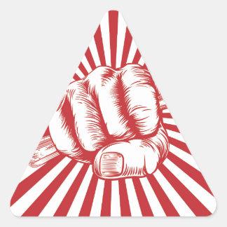 Fork Woodcut Propaganda Fist Hand Triangle Sticker