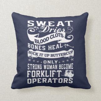 Forklift Operator Woman Throw Pillow