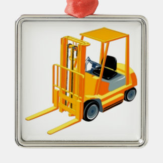 Forklift Truck (a.k.a. Lift Truck/Fork Truck) Silver-Colored Square Ornament