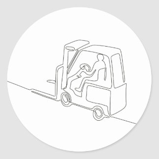 Forklift Truck Continuous Line Classic Round Sticker
