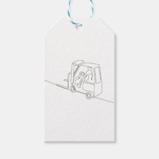 Forklift Truck Continuous Line Gift Tags