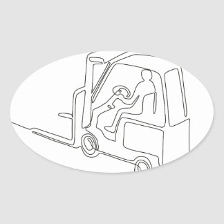 Forklift Truck Continuous Line Oval Sticker
