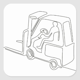 Forklift Truck Continuous Line Square Sticker