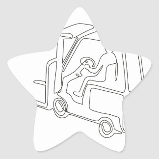 Forklift Truck Continuous Line Star Sticker