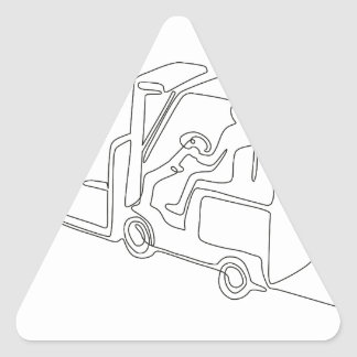 Forklift Truck Continuous Line Triangle Sticker