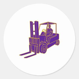 Forklift Truck Mono Line Classic Round Sticker