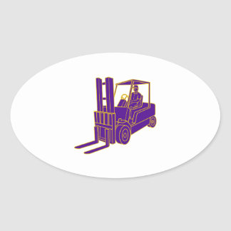 Forklift Truck Mono Line Oval Sticker