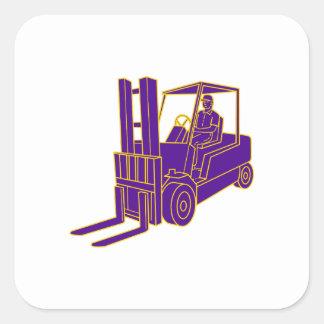 Forklift Truck Mono Line Square Sticker