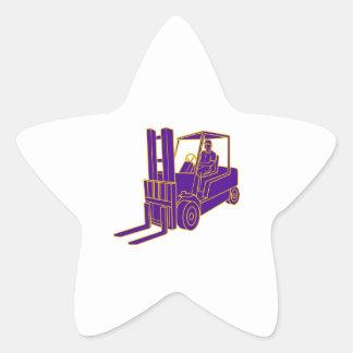 Forklift Truck Mono Line Star Sticker
