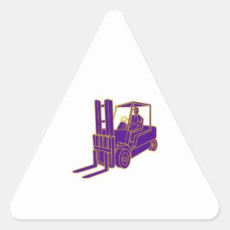 Forklift Truck Mono Line Triangle Sticker