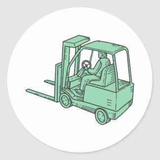 Forklift Truck Operator Mono Line Classic Round Sticker