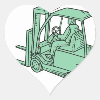 Forklift Truck Operator Mono Line Heart Sticker