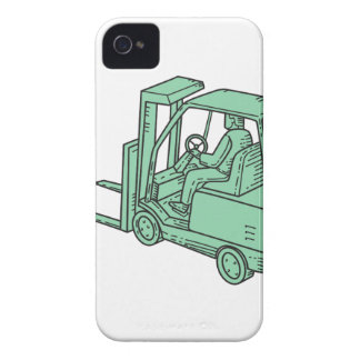 Forklift Truck Operator Mono Line iPhone 4 Case-Mate Cases