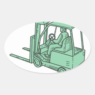 Forklift Truck Operator Mono Line Oval Sticker