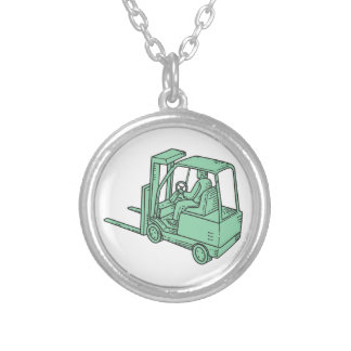 Forklift Truck Operator Mono Line Silver Plated Necklace